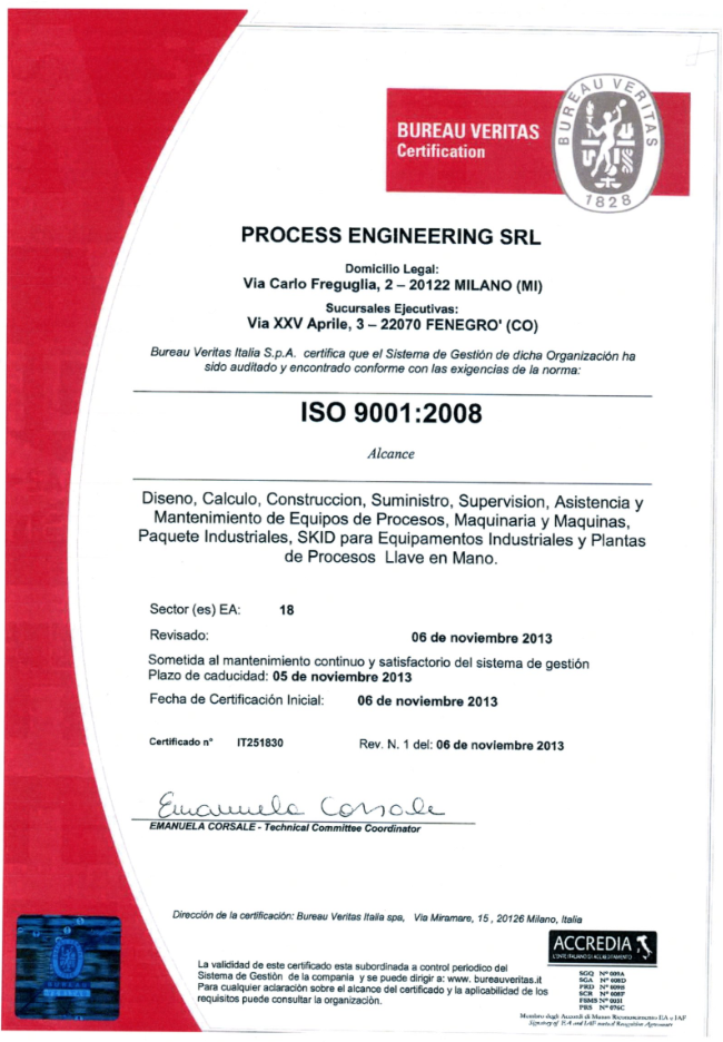 ISO certification PE Process Engineering